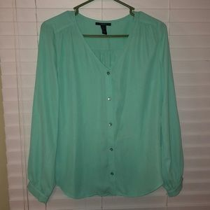 Turquoise Button-Up Blouse